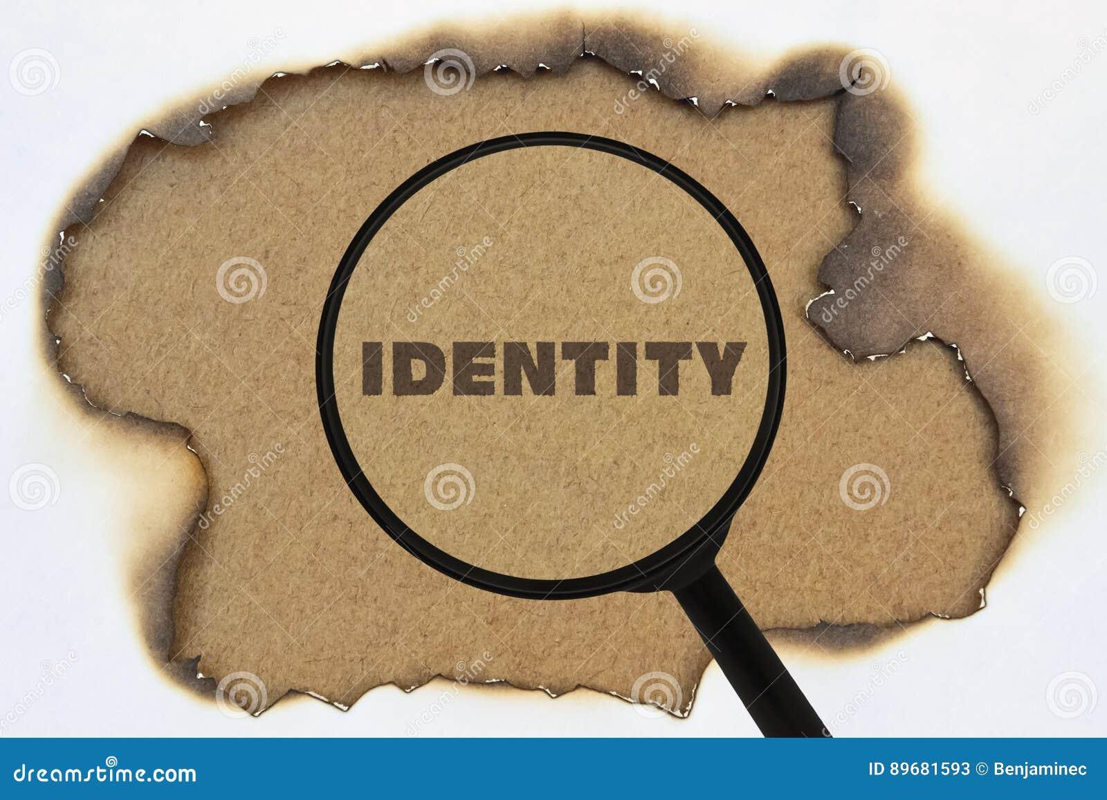 Identidad De La Palabra Debajo De Una Lupa Imagen De Archivo