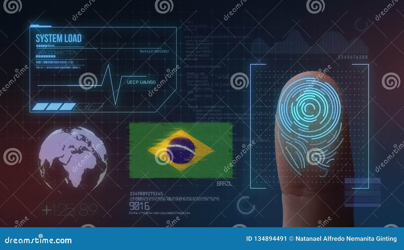 Identificatiesysteem van het vingerafdruk het Biometrische Aftasten De Nationaliteit van Brazilië