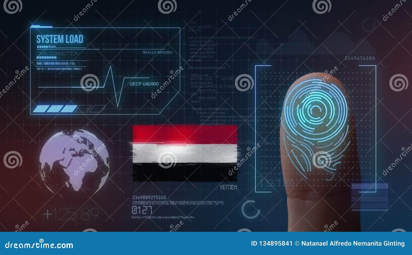 Identificatiesysteem van het vingerafdruk het Biometrische Aftasten De Nationaliteit van Yemen