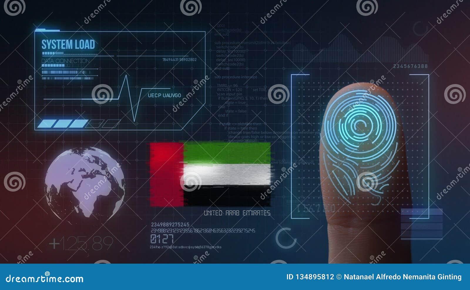 Identificatiesysteem van het vingerafdruk het Biometrische Aftasten De verenigde Arabische Nationaliteit van Emiraten