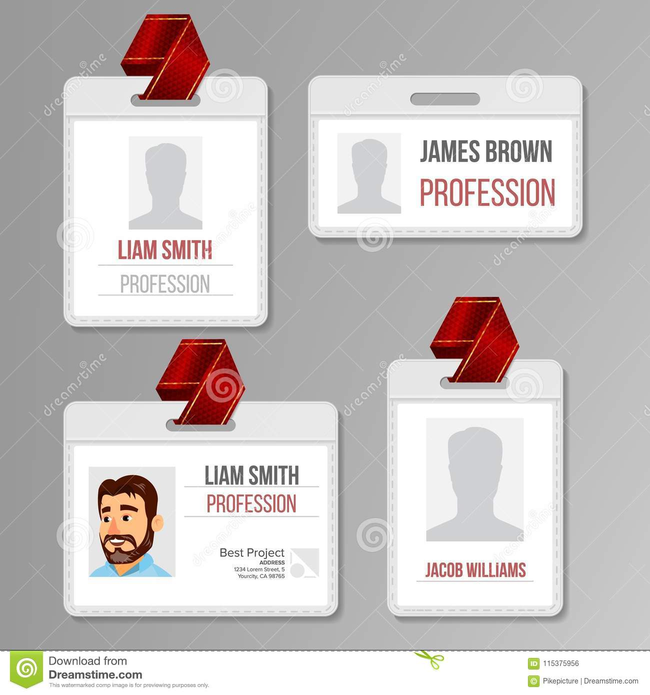 Identification Badge Set Vector Id Card Blank Name