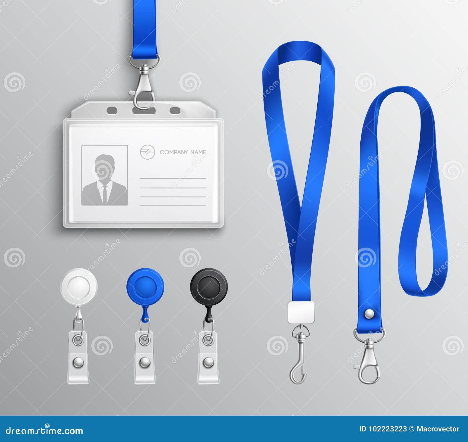 Identification Card Badge Accessories Set Stock Vector ...