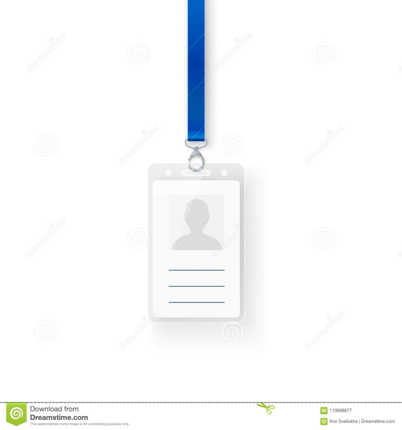 Identification Personal Plastic Id Card Empty Template Of Id Badge