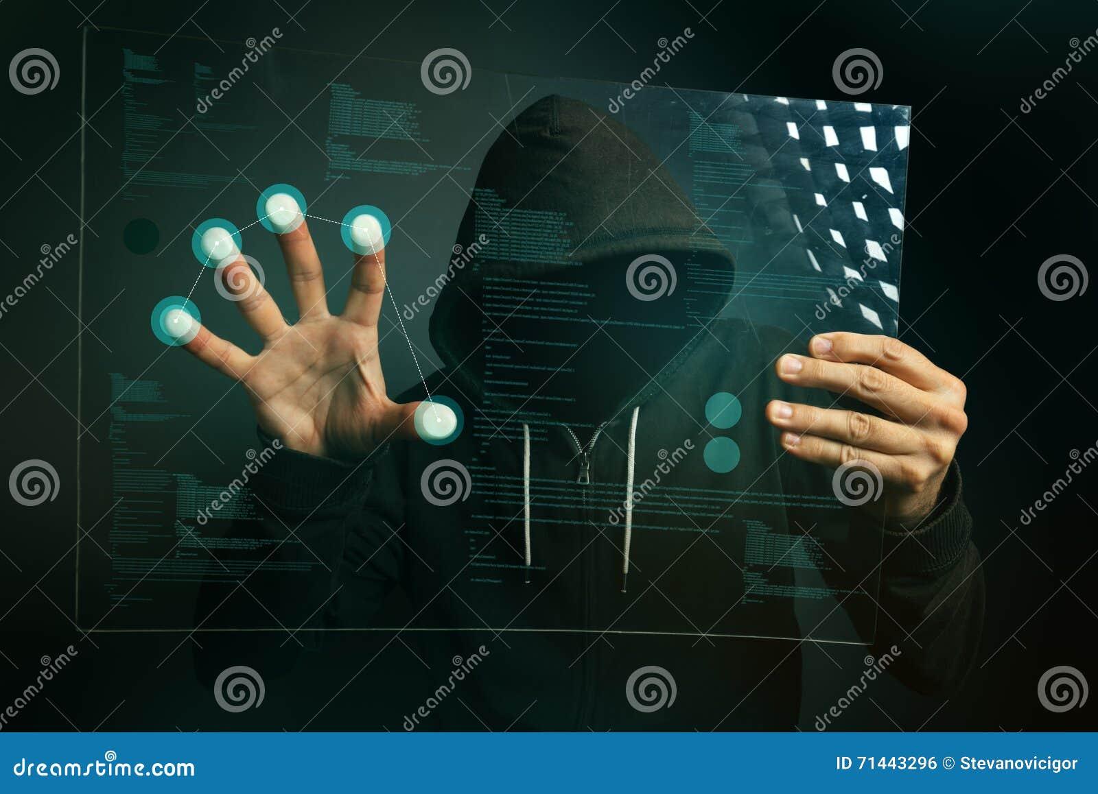Identifiera med fingeravtryck ID app på futuristisk minnestavladatorbärare