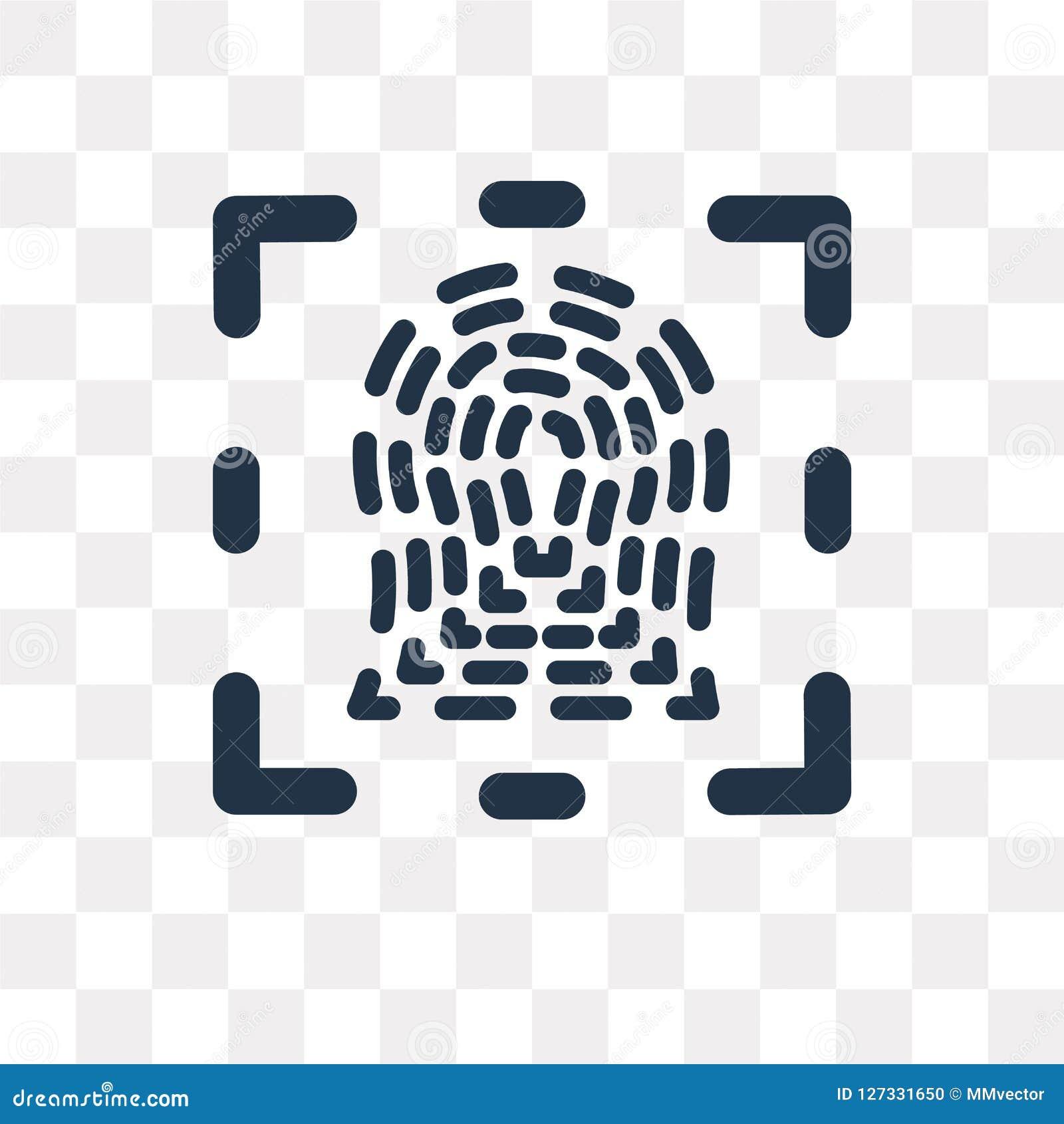 Identifierar med fingeravtryck vektorsymbolen som isoleras på genomskinlig bakgrund, Fi