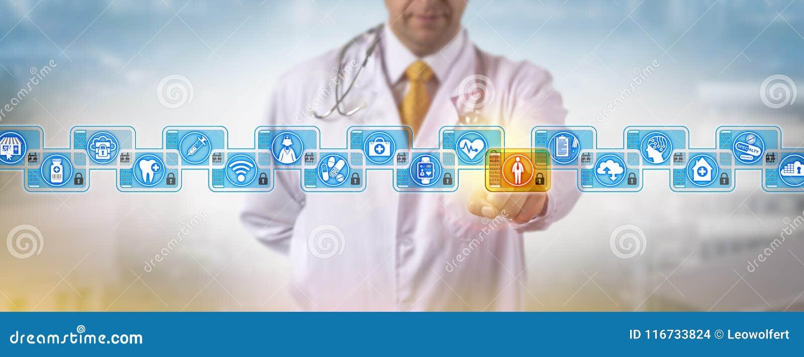 Identifiez-vous Blockchain de docteur Accessing Male Patient