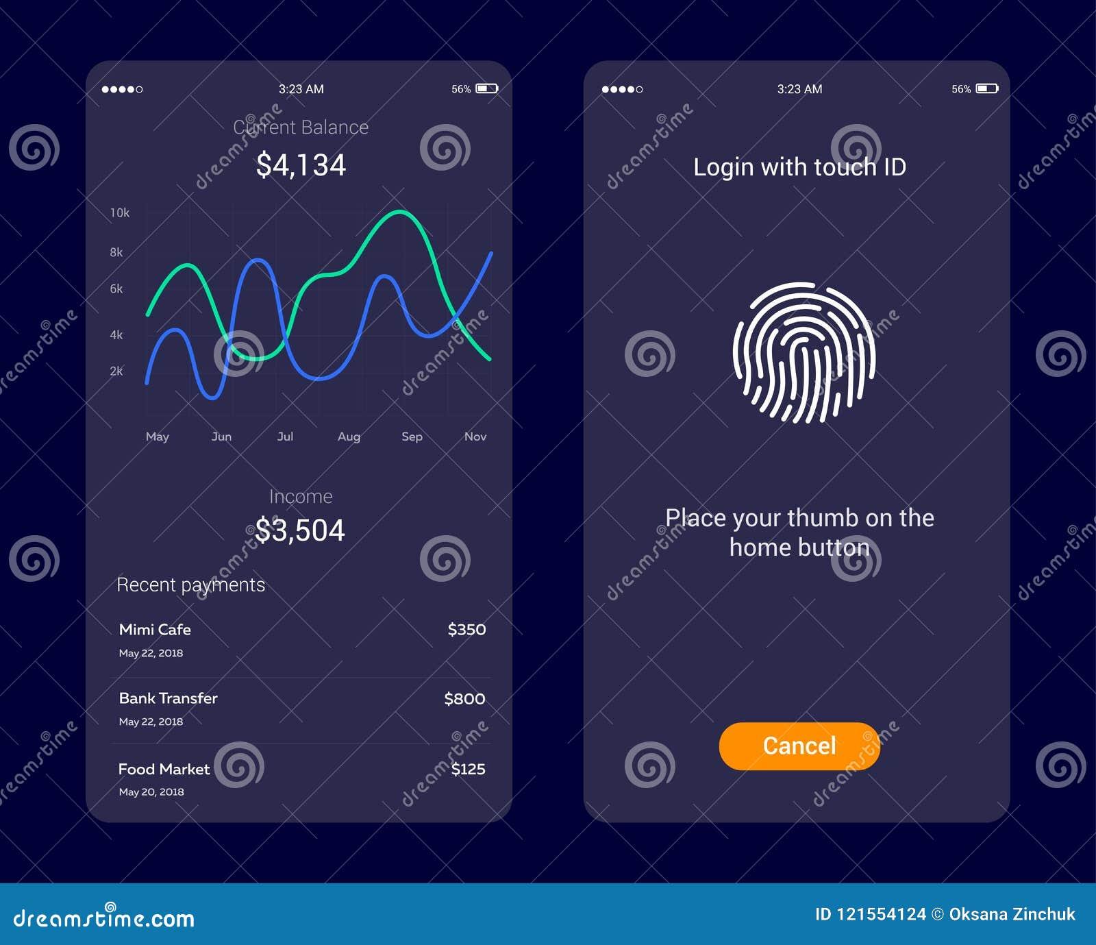 Identifikations-Anwendung mit Ikone des Fingerabdruckes und Diagramm schließen an Fingerabdruckvektorikone Logonfingerabdruck, Sc
