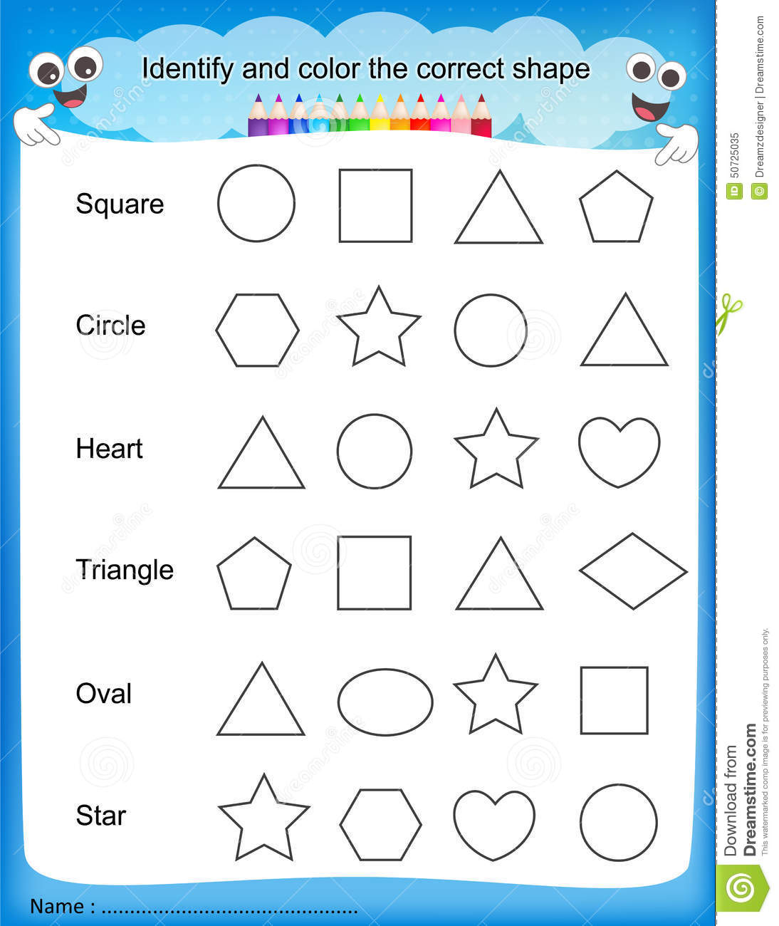 math worksheet : identify and color the correct shape worksheet stock vector  : Free Shapes Worksheets For Kindergarten