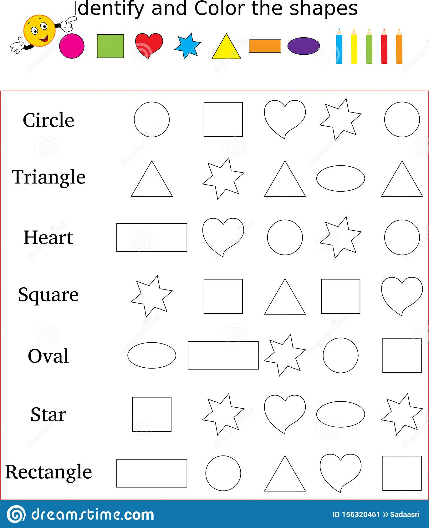 - Identify And Color The Correct Shape Worksheet Stock Image