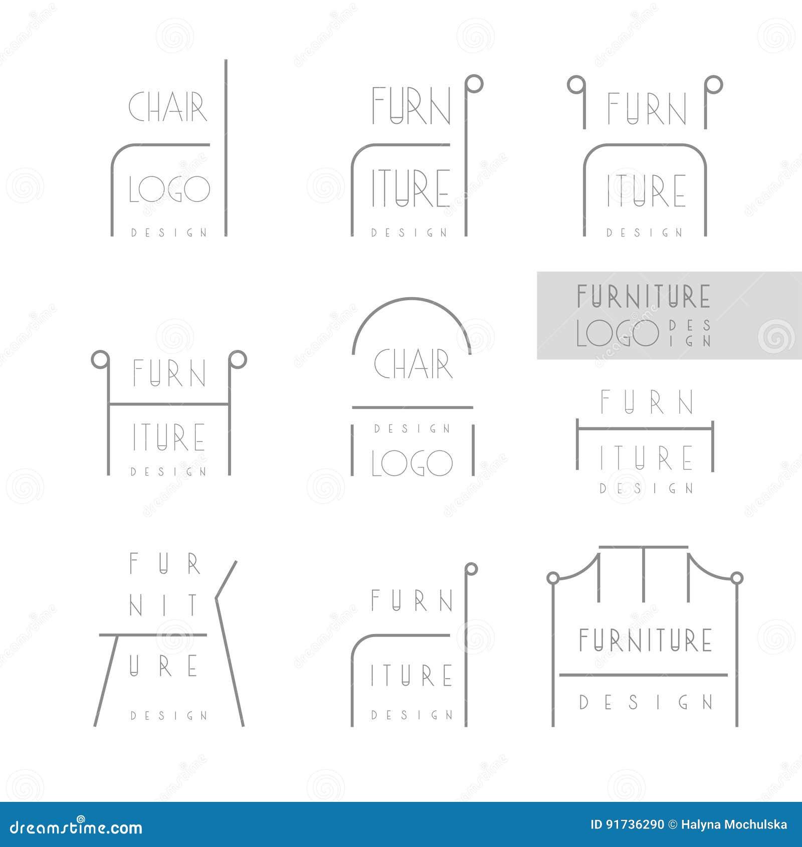 Identite De Marque Dessinateur Dinterieurs Ligne Logo Chaise Word Dans Le Peut Etre Remplace Par Appropriee Calibre Carte Visite