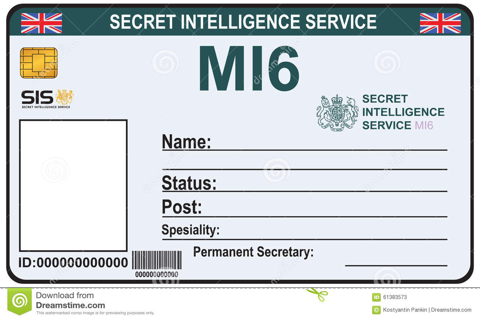 Identit un agent secret de mi 6 illustration de vecteur for Spy id card template