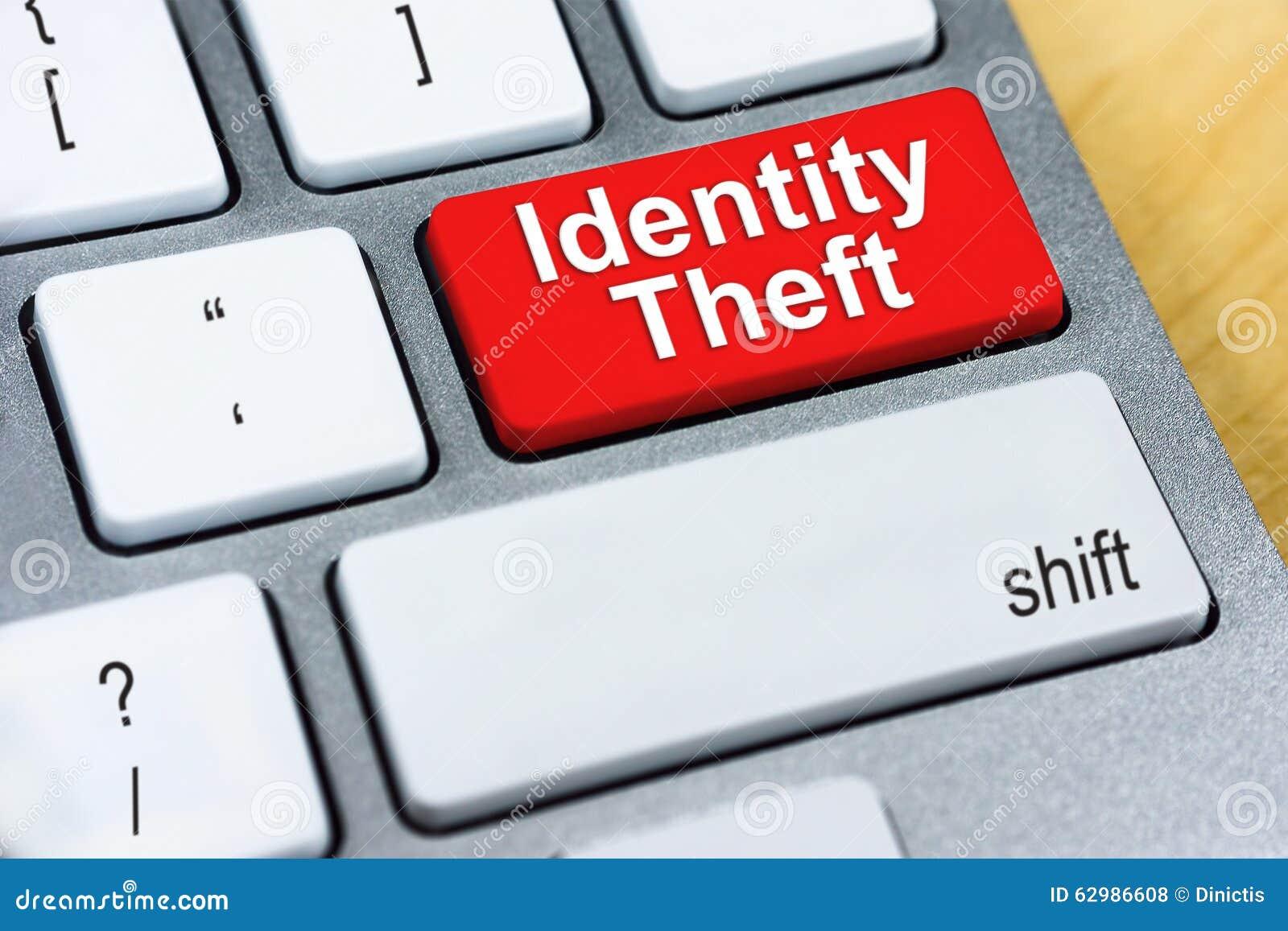 Identitetsstöld för skriftligt ord på den röda tangentbordknappen Online-Prote