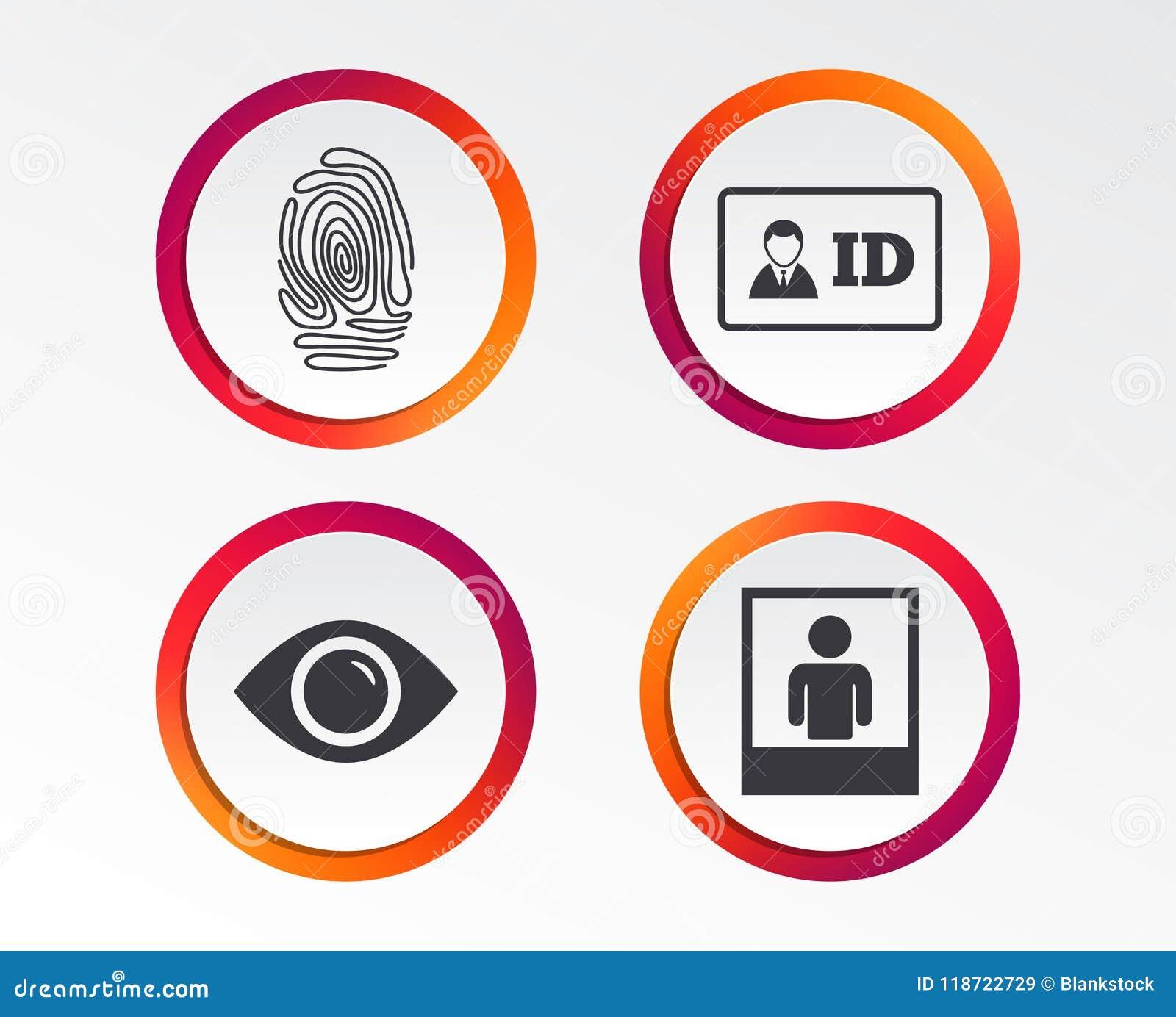 Identity Id Card Badge Icons Eye Symbol Stock Vector