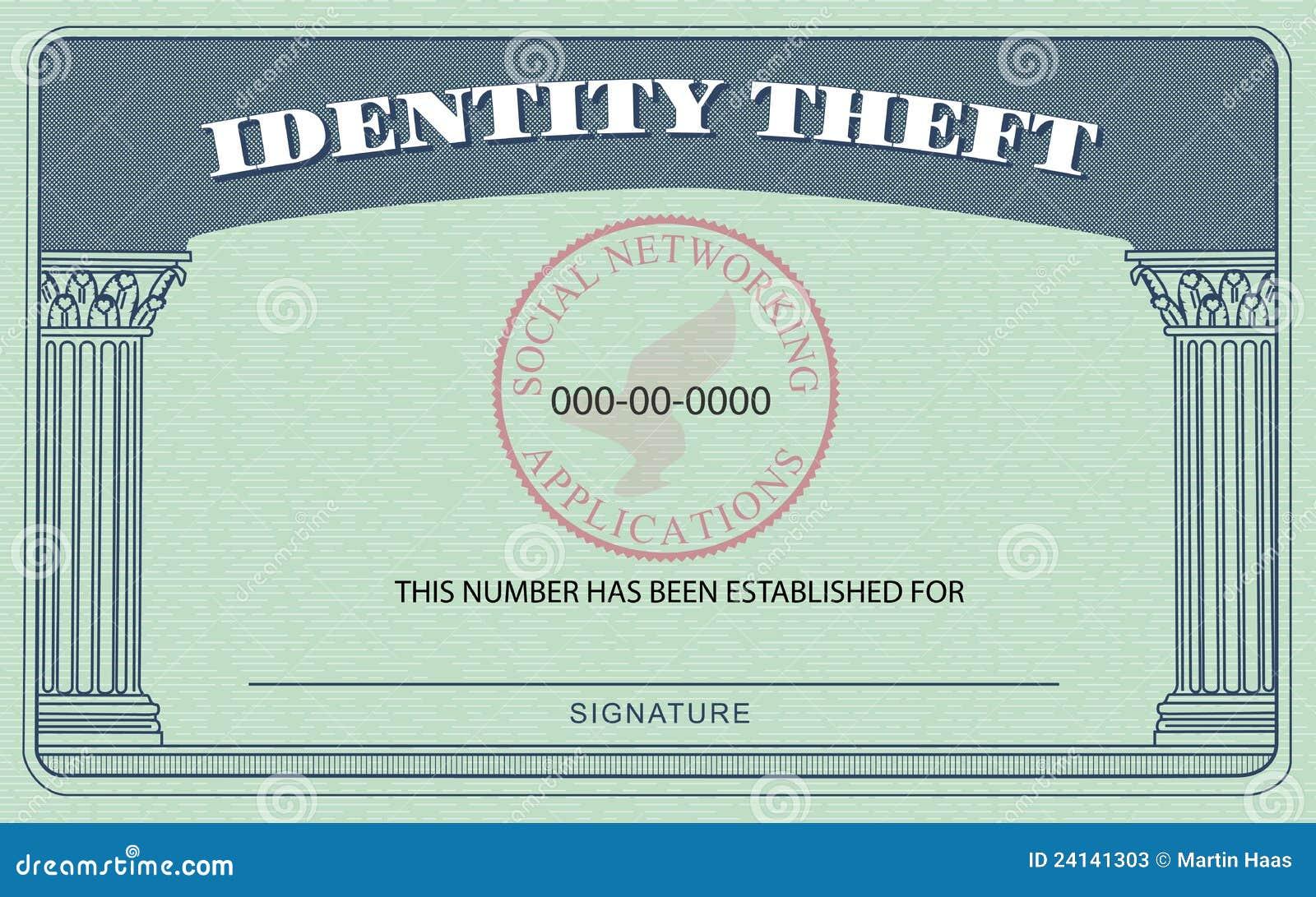 Identity Theft Card stock illustration. Illustration of bogus Regarding Fake Social Security Card Template Download