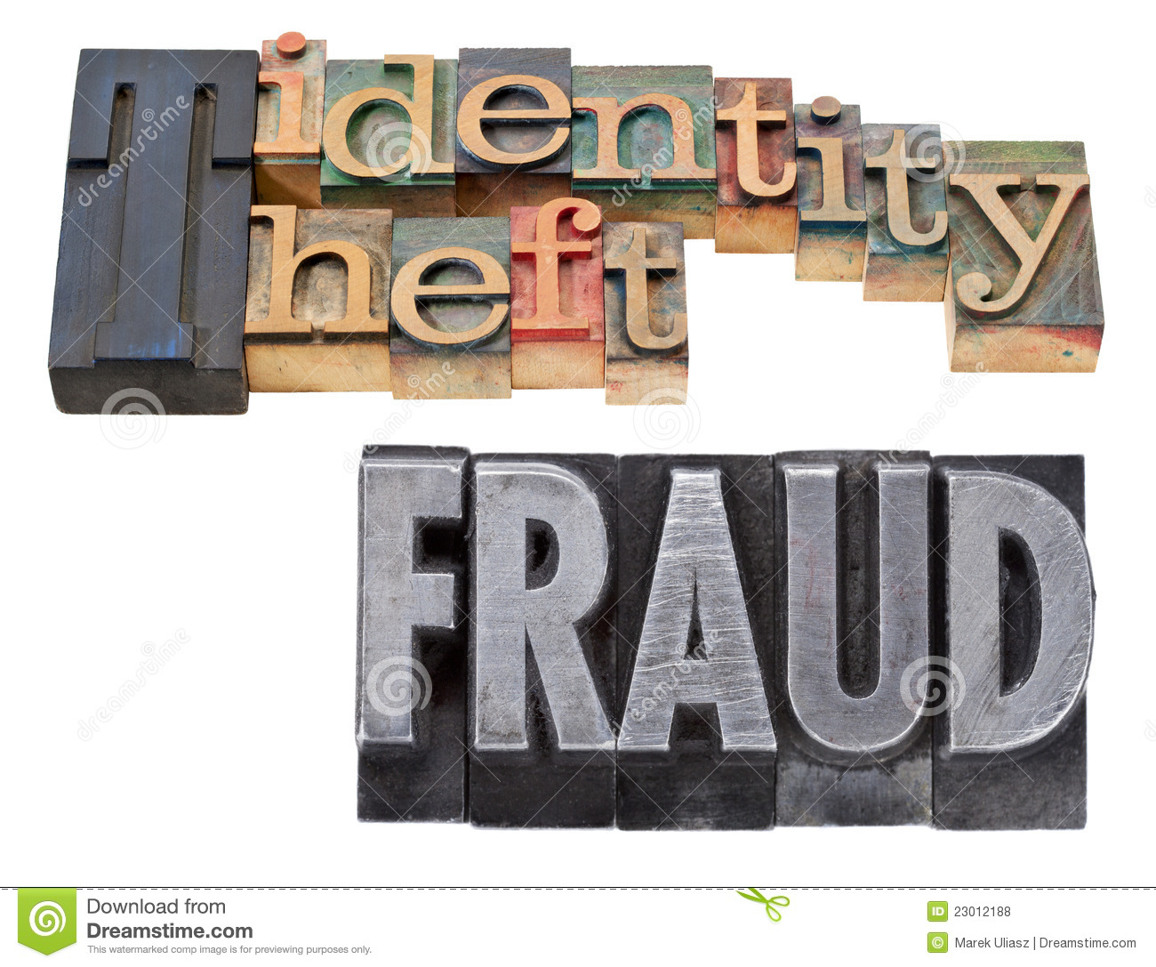 Identity Theft And Fraud In Letterpress Type Royalty Free