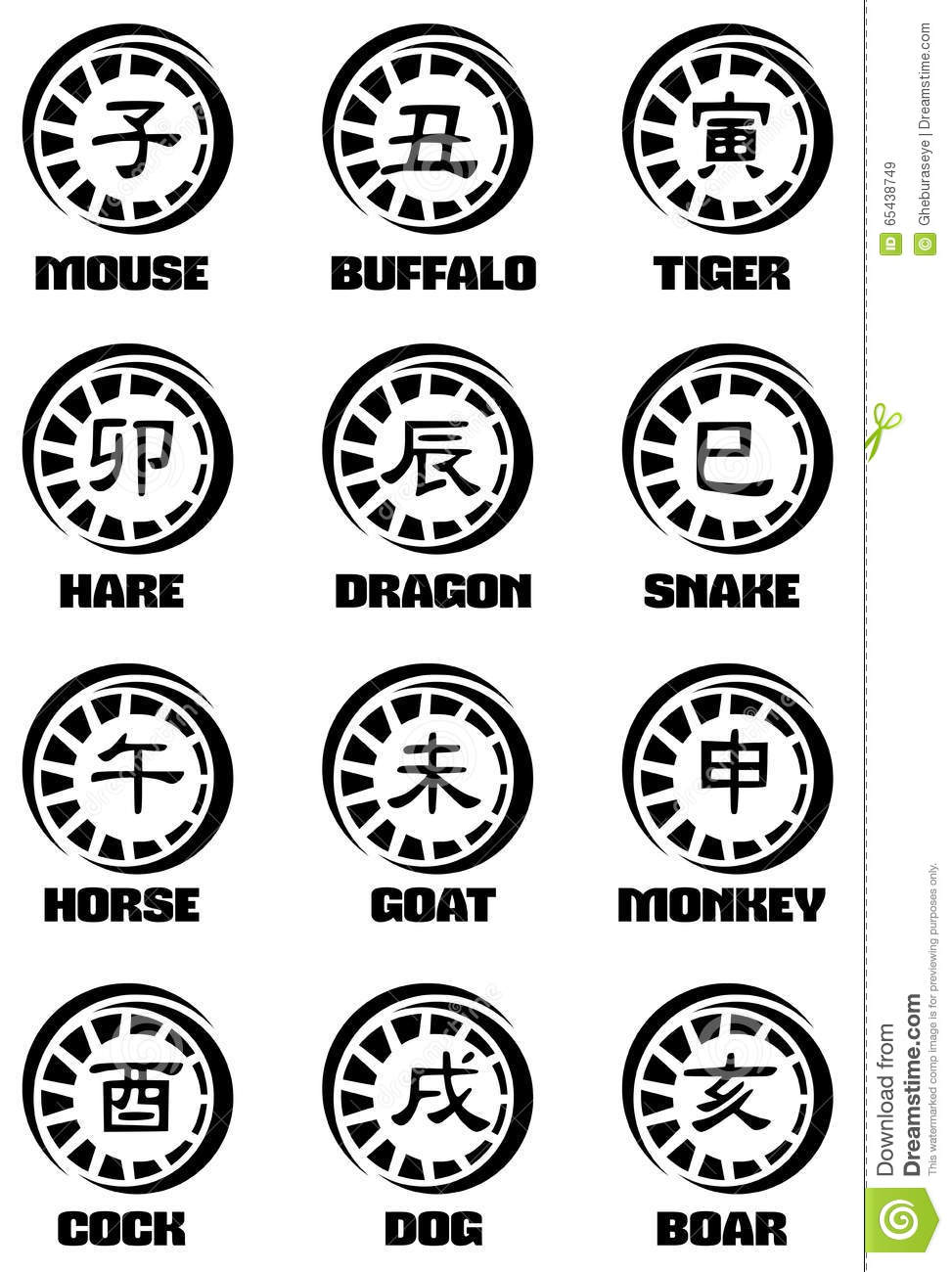 Ideograms of chinese zodiac signs tattoo stock vector illustration ideograms of chinese zodiac signs tattoo isolated fantasy biocorpaavc Gallery
