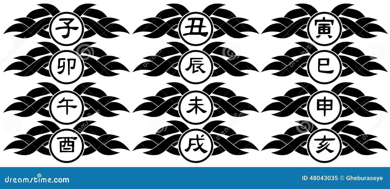 Ideogramy Chiński Zodiaków Znaków Tatuaż Odizolowywający