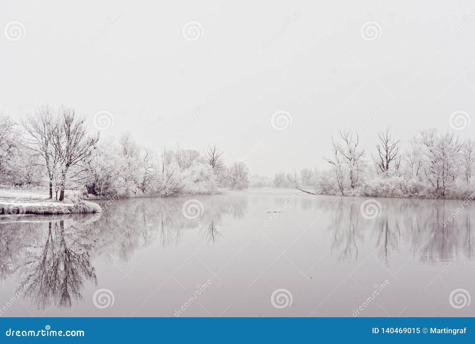Idillio rivierasco di inverno di area del paesaggio del fiume