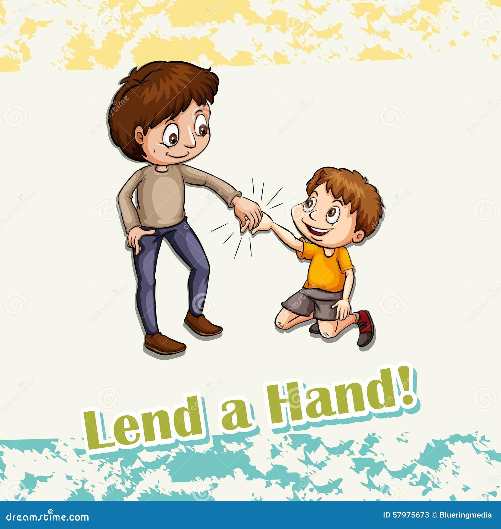 Idiom lend a hand stock vector. Illustration of figurative ...  Idiom lend a ha...