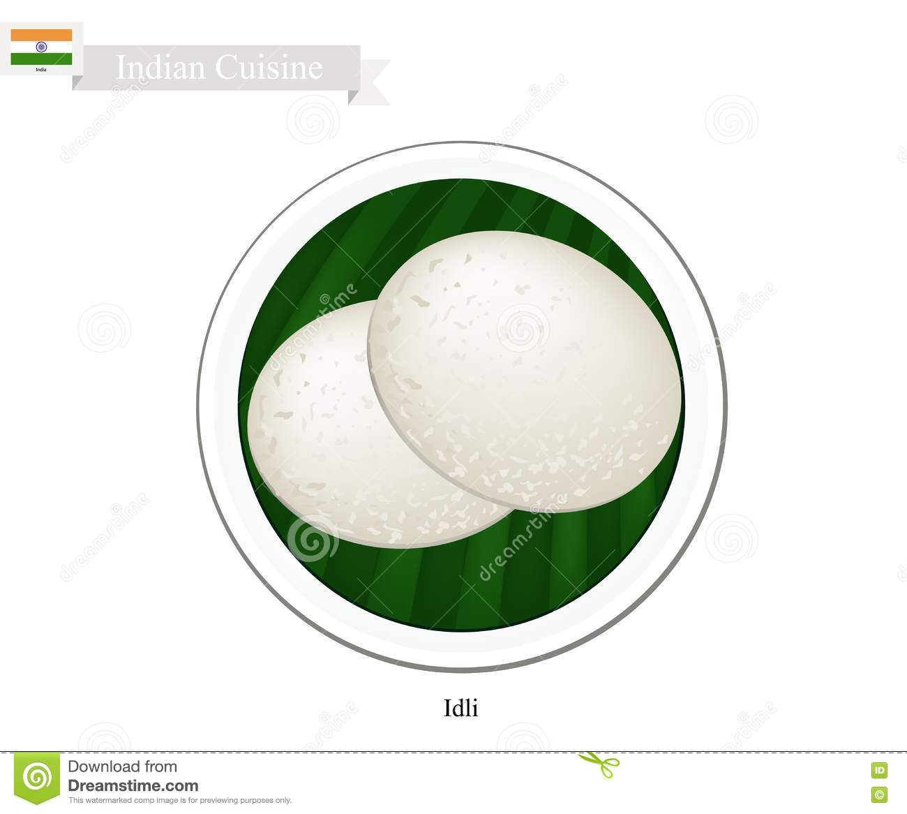 Idli Or Traditional Indian Steamed Rice Cake Cartoon ...