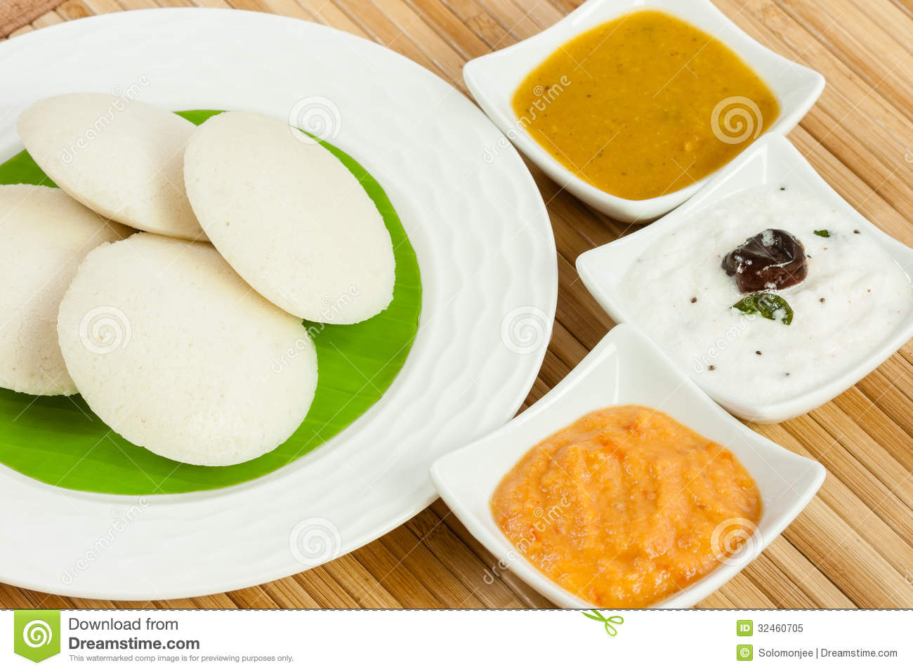 traditional ethnic south Indian breakfast of Idly (Idli / rice cake ...