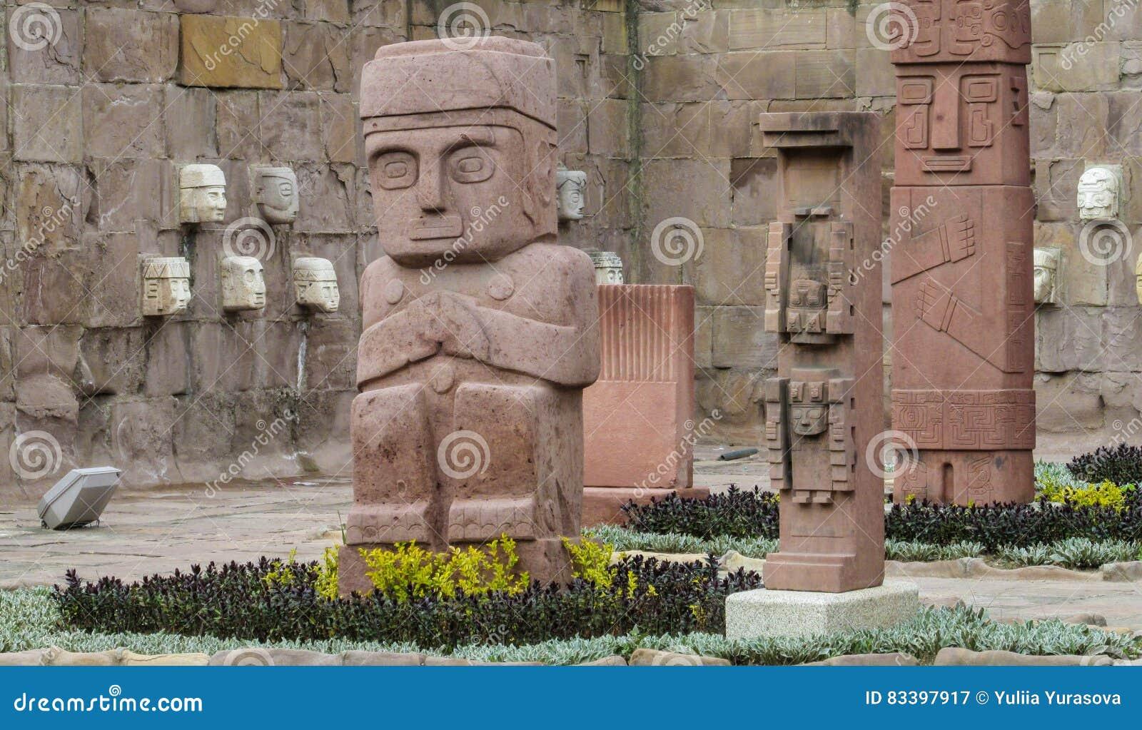 Idol statue from Tiwanaku in La Paz, Bolivia
