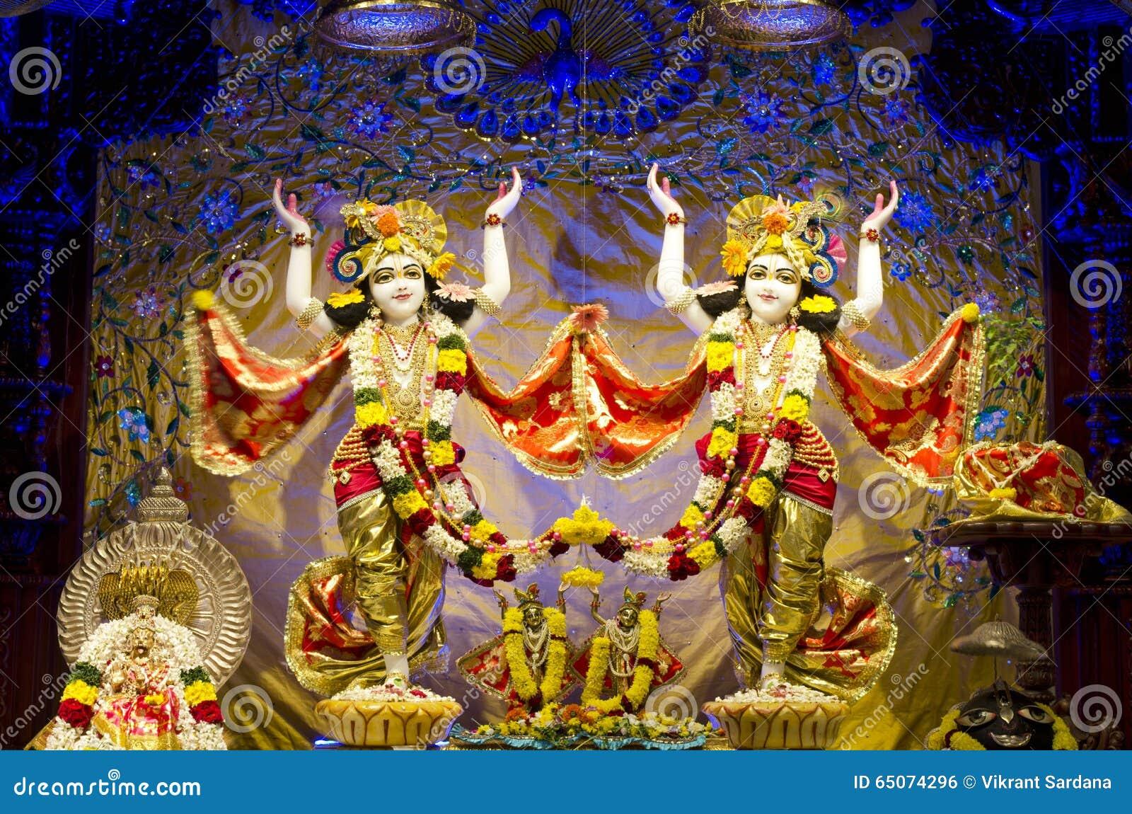 Idols Of Lord Krishna And Radha In ISKCON Temple Chennai Stock Photo