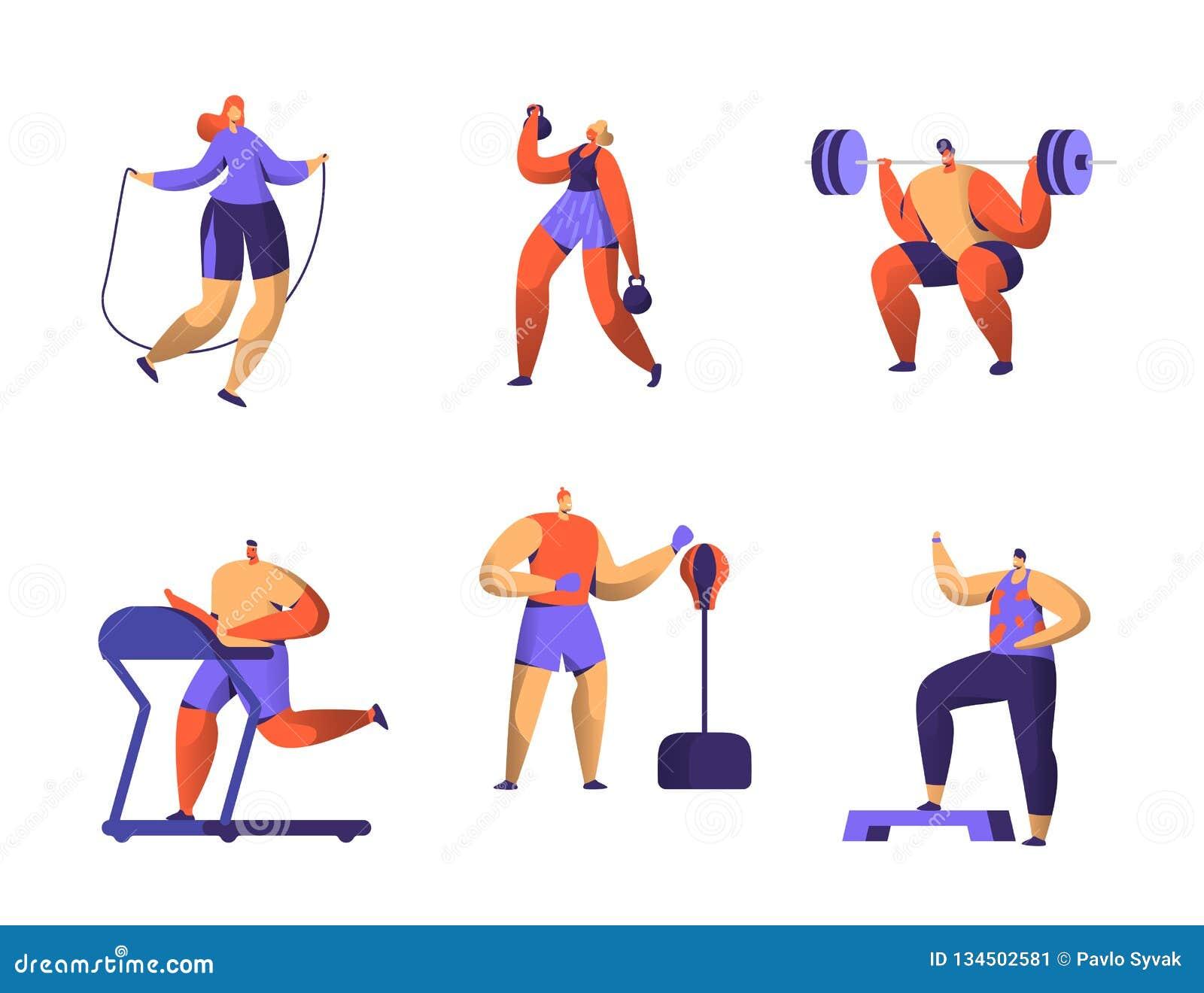 Idrottshallkonditiontecken - uppsättning För för genomkörareman och kvinna för sport Cardio diagram samling Sund aerobisk Weightl