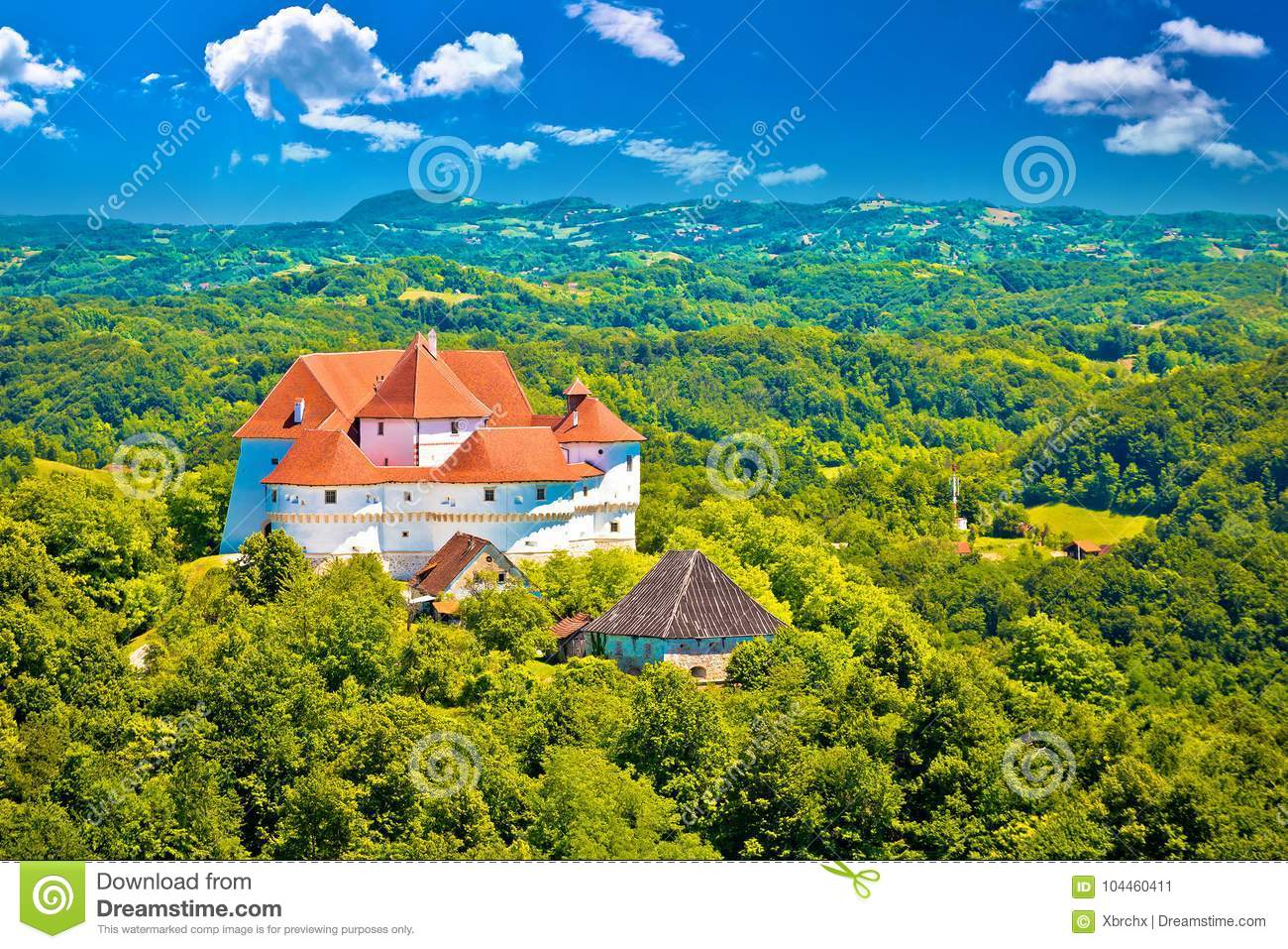 Idyllic green landscape of Zagorje region with Veliki Tabor cast