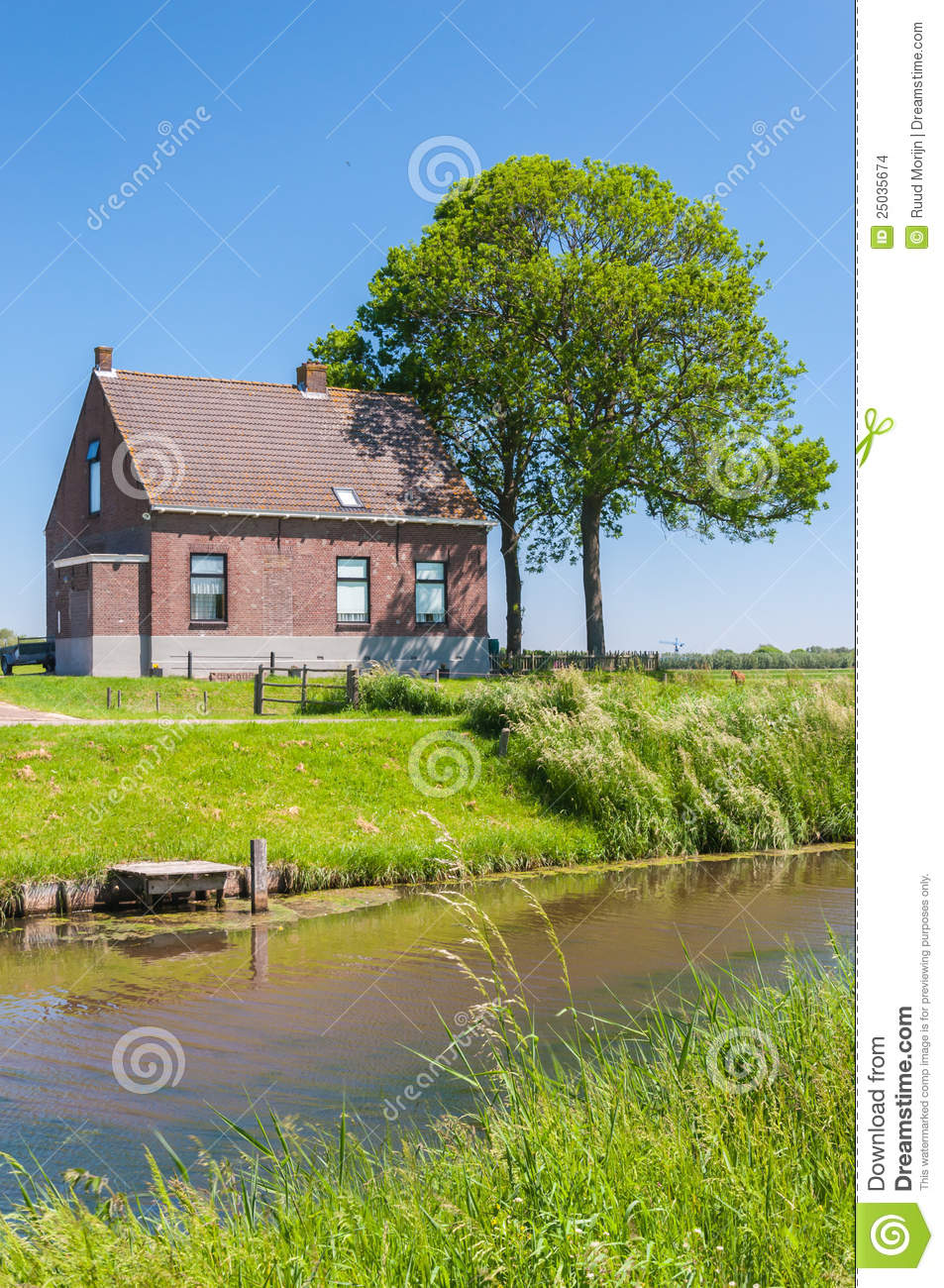 Rural house and small creek royalty free stock for Creek house