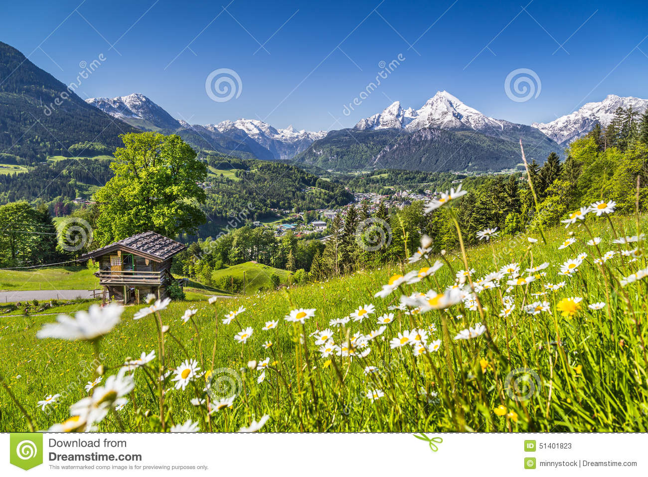 Idyllic landscape in the alps in spring with traditional for Alpine lodge