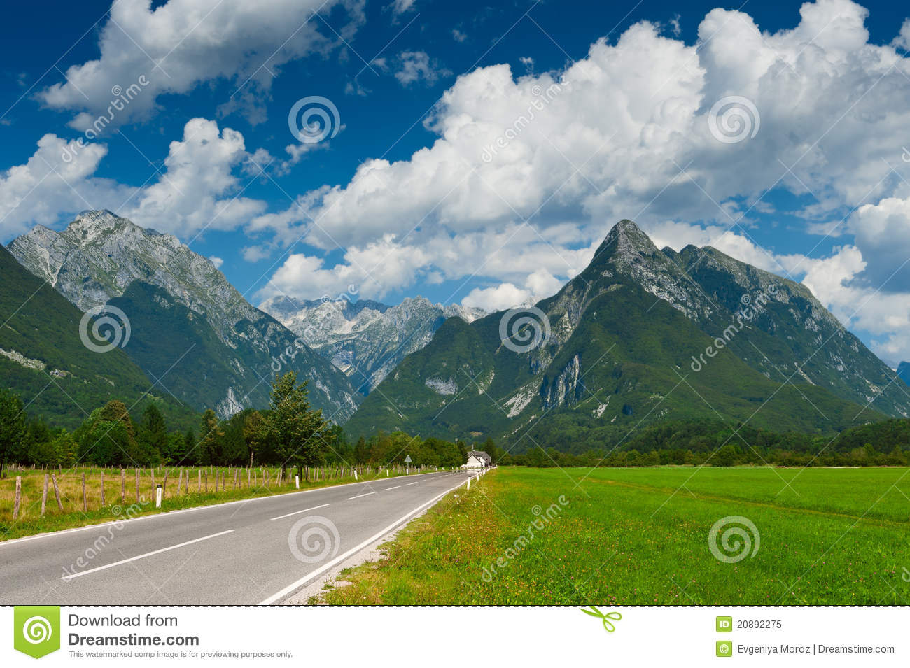 Idyllic mountain valley with road