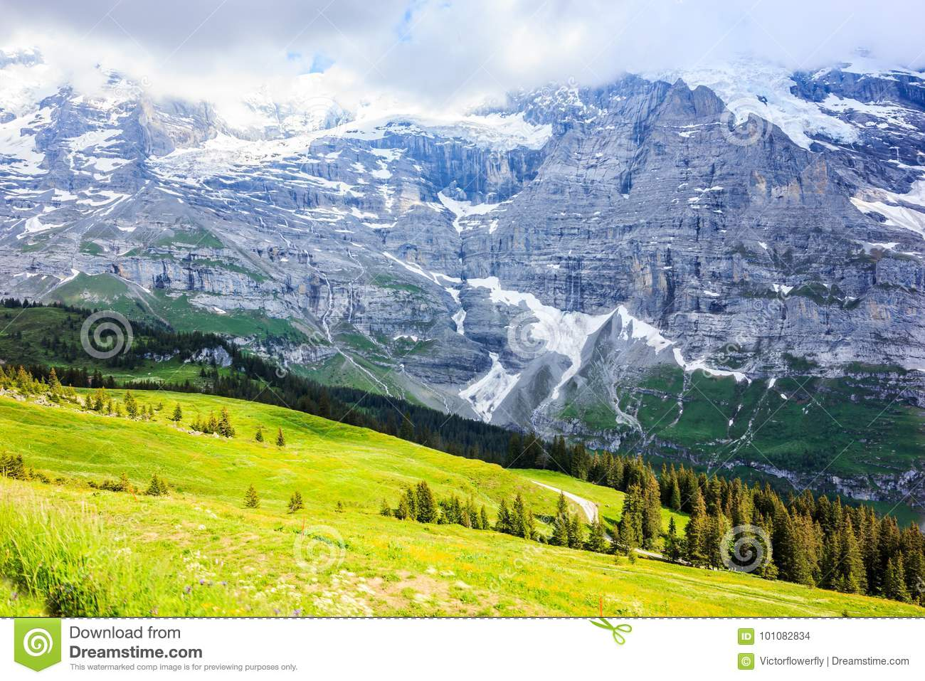 Idyllic Natural European Swiss Alpine Scenery Background, Jungfrau Region, Lauterbrunnen, Bernese Oberland, Bern, Switzerland