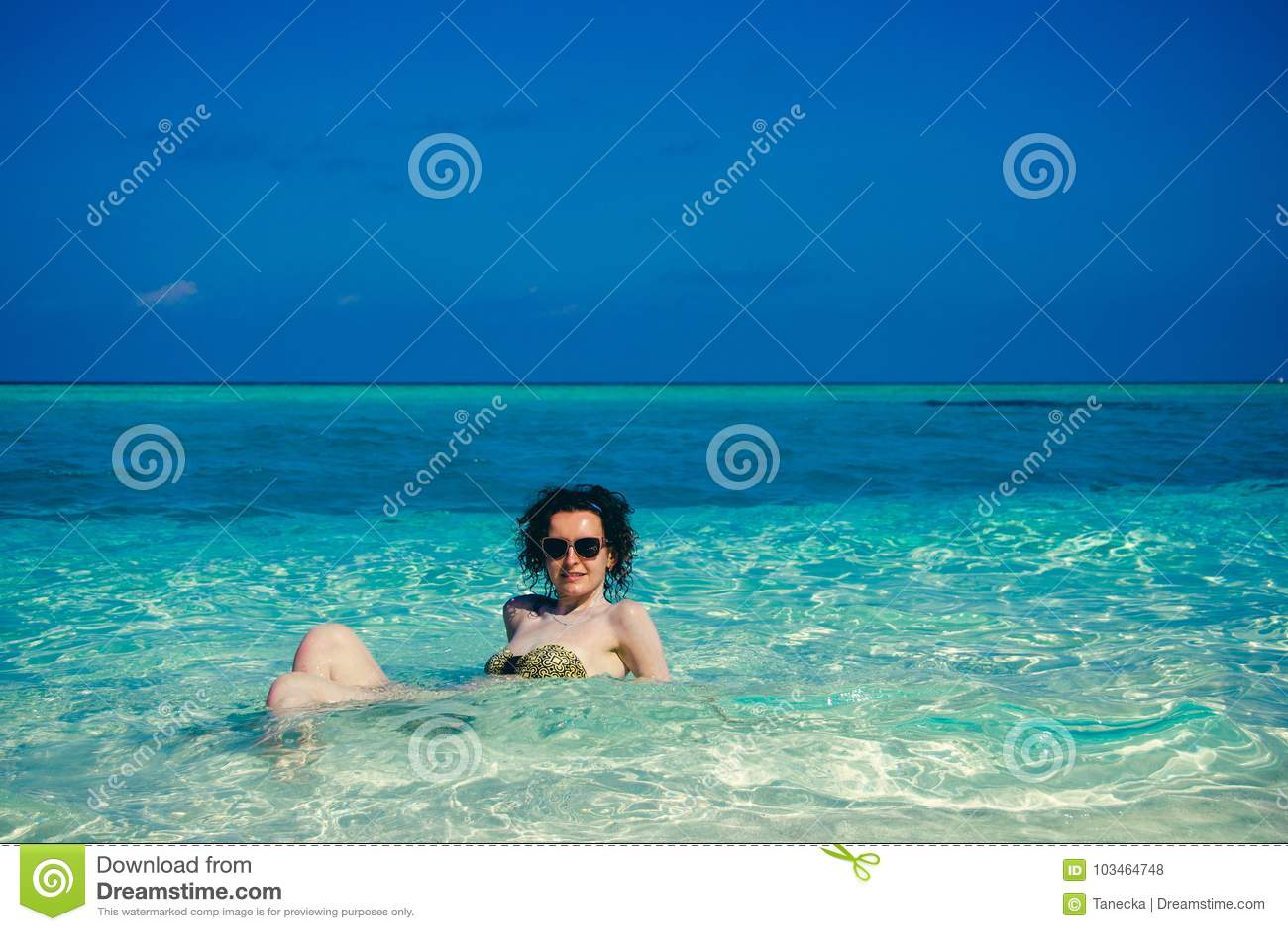 Idyllic paradise island landscape. Exotic tropical beach. Summer vacation, luxury holiday resort, tourism concept. Travel to Maldi