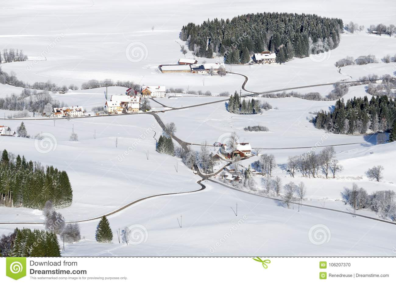 Download Lovely Rural Countryside On Snowy Winter Day. Aerial View Of Barnyards And Farm. Weitnau, Allgau, Bavaria, Germany. Stock Photo - Image of country, outdoor: 106207370