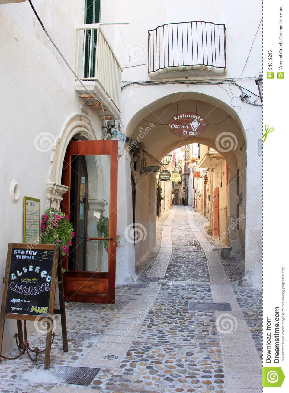 Idyllic Street In Ancient Town Vieste Italy Editorial