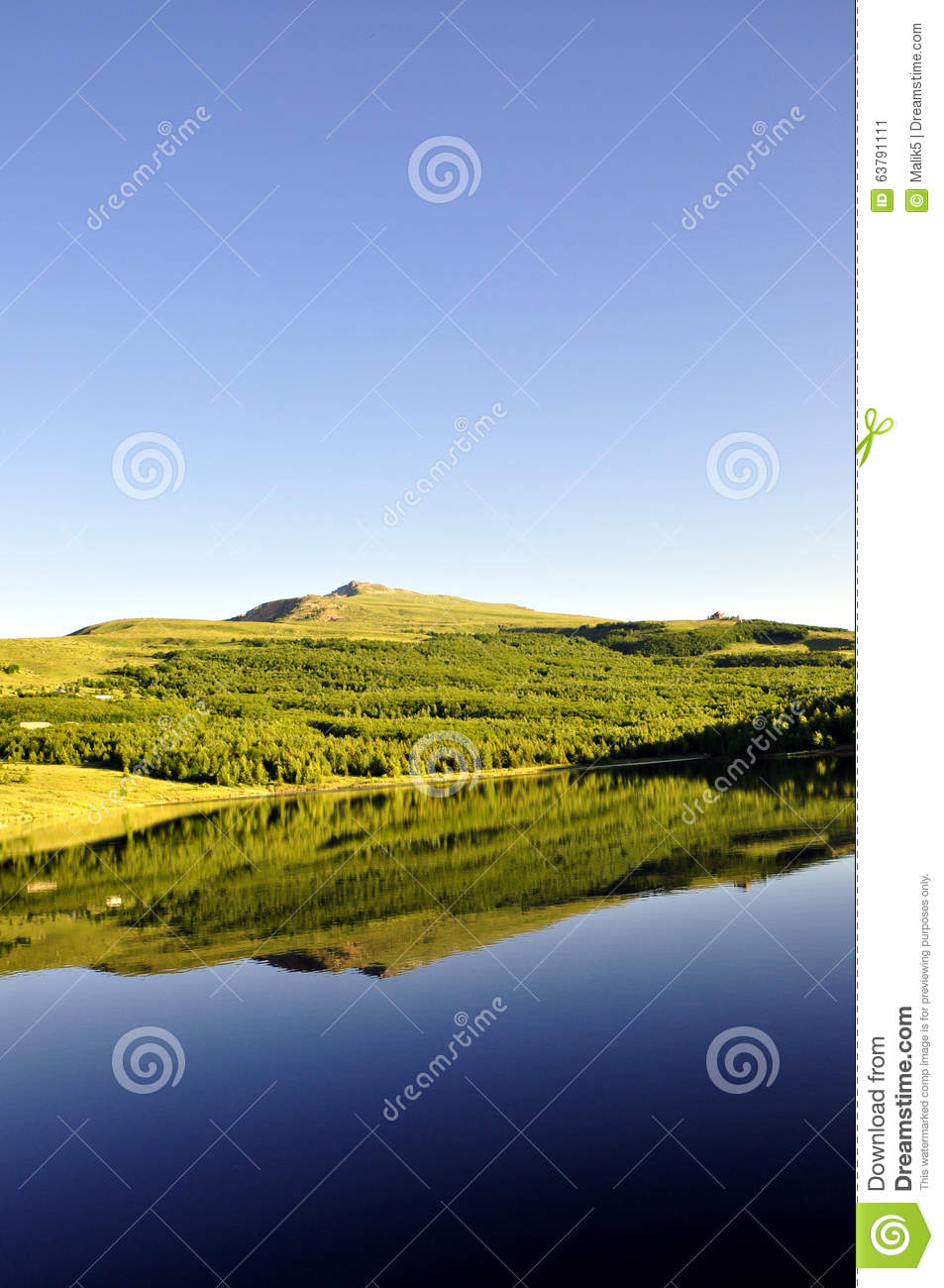 Idyllic summer landscape with clear mountain lake