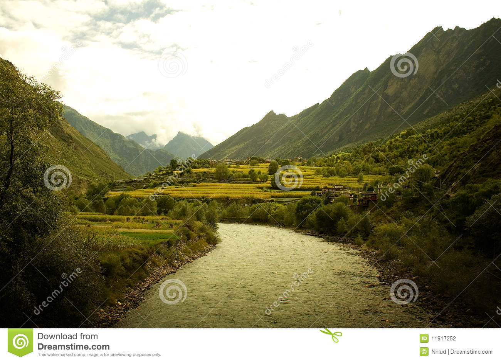 Idyllic valleys in western sichuan, china