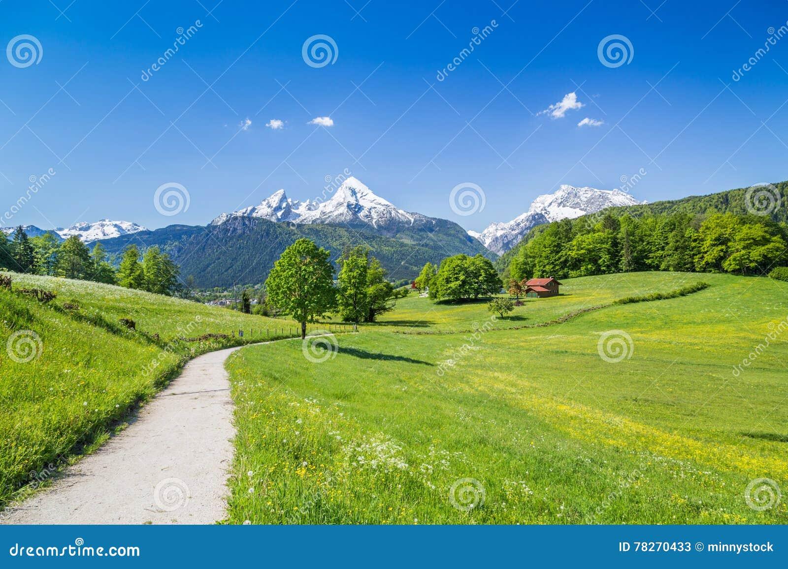 Idylliczny lato krajobraz w Alps, Nationalpark Berchtesgaden, Bavaria, Niemcy