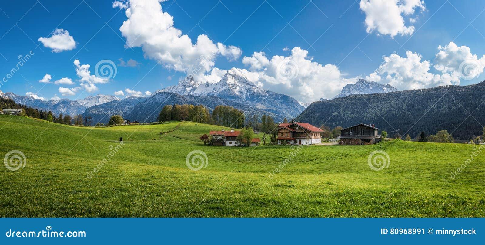 Idyllisch alpien landschap met groene weiden, boerderijen en snow-capped bergbovenkanten