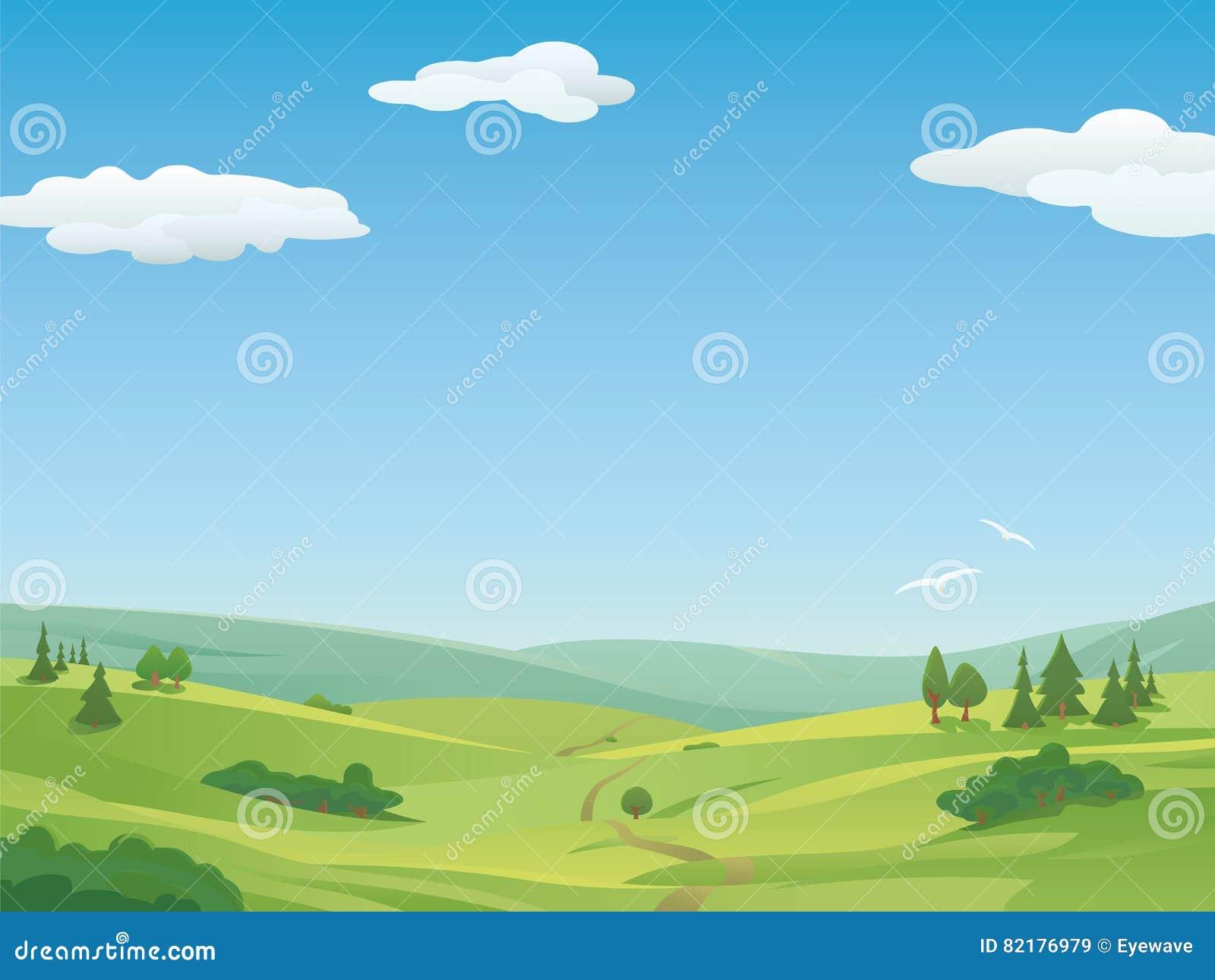 Idyllische landschapsillustratie