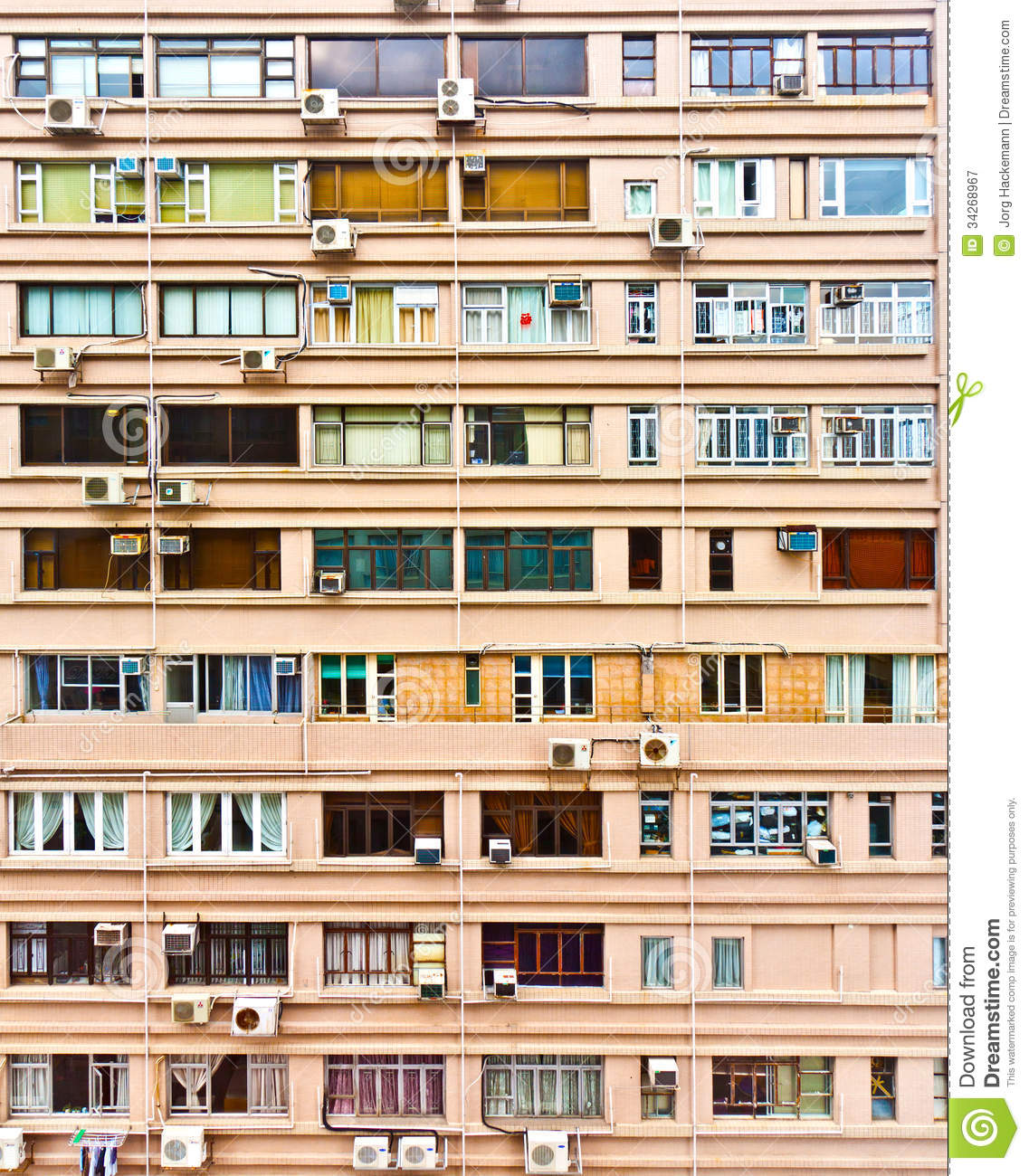 The Apartment People: Iew To Facade Of Old Skyscraper Editorial Photography