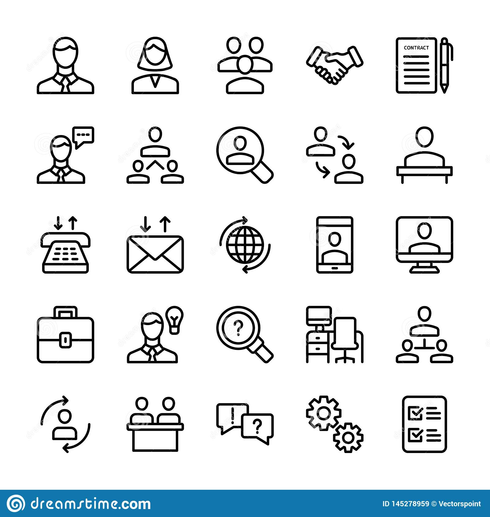 Meeting, Workplace Line Icons Pack
