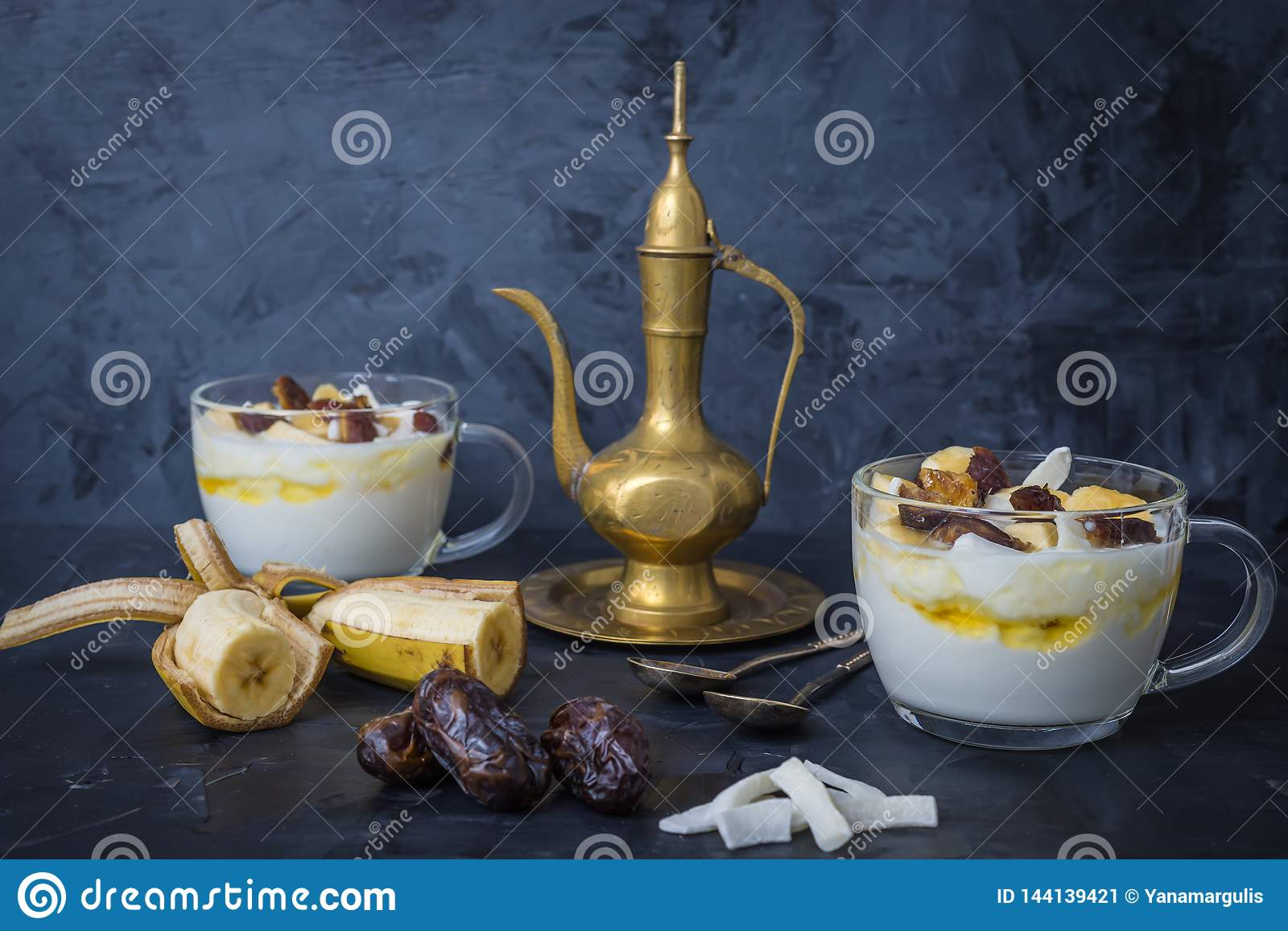 Iftar or Suhoor snack close up of dates with yogurt