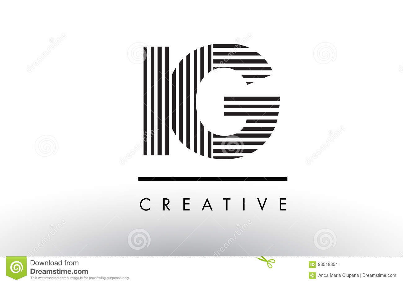 Royalty-Free Vector. Download IG I Q Black And White Lines Letter Logo  Design.