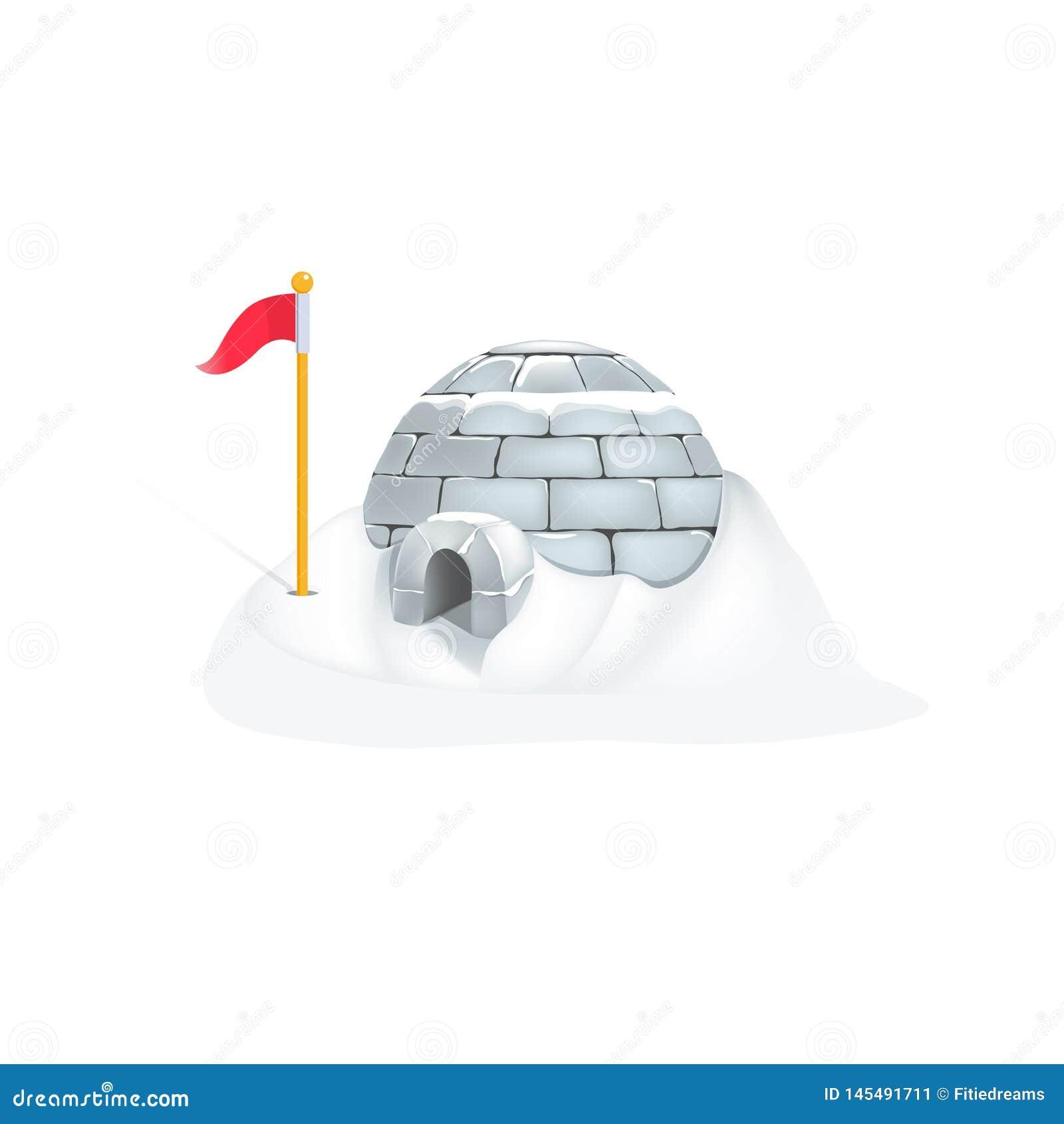 Iglù eschimese di vettore con forte nevicata