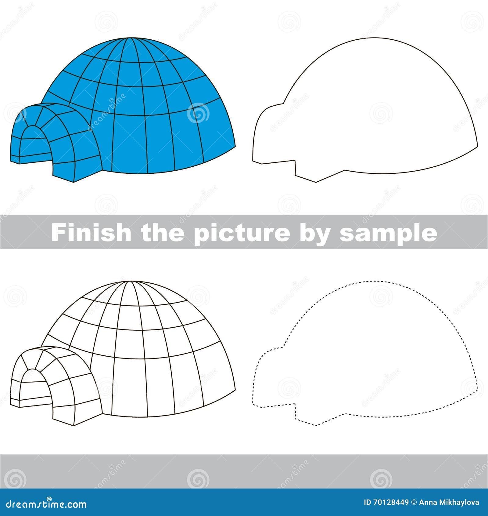 Iglú Hoja De Trabajo Del Dibujo Ilustración Del Vector Ilustración