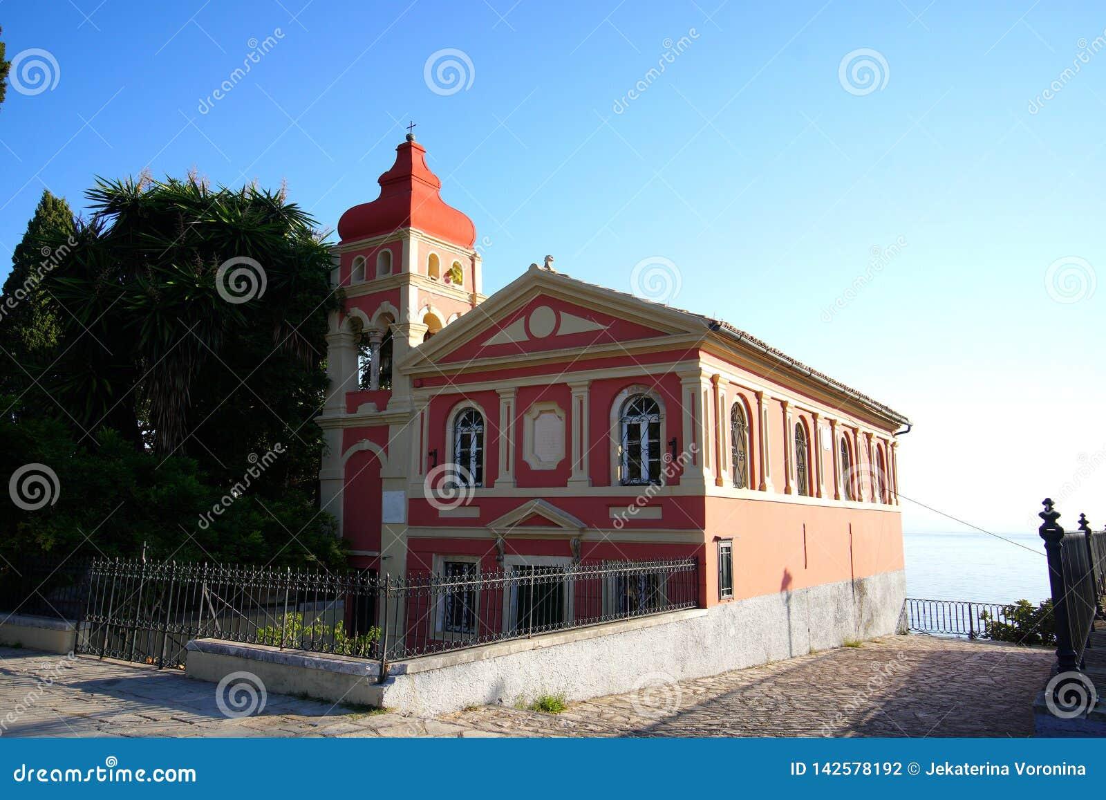Iglesia en la ciudad de Corfú que está situada adyacente al cuadrado de Spianada