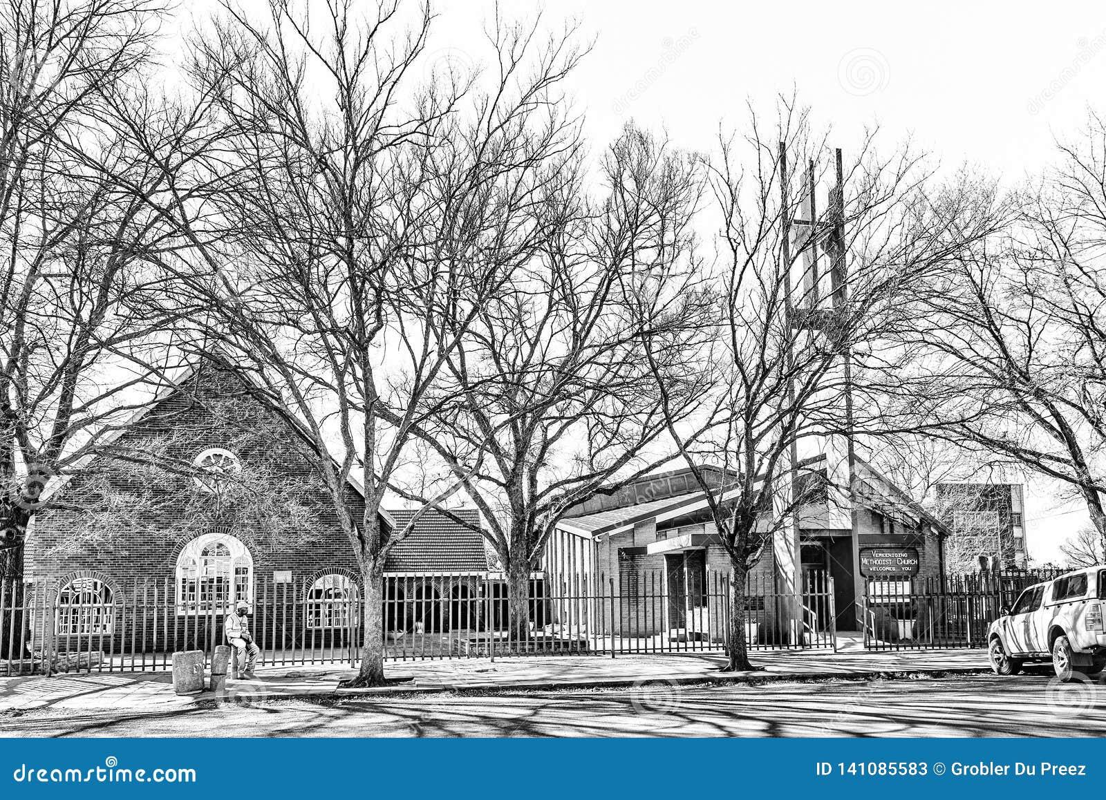 Iglesia metodista en Vereeniging en Gauteng Province monocromático