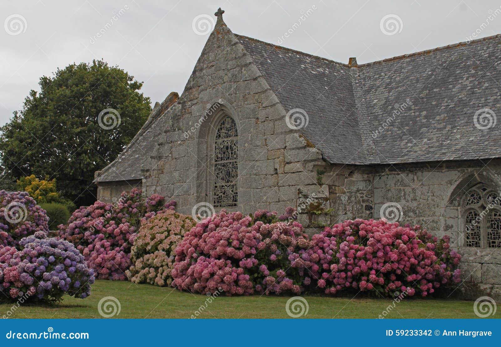 Download Iglesia Vieja Con La Ventana Y La Planta De La Hortensia Foto de archivo - Imagen de cristiano, configuración: 59233342
